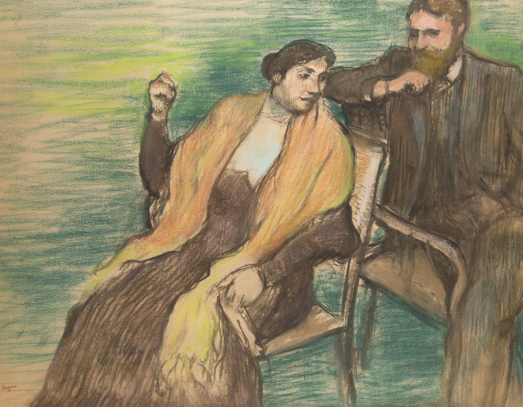 Image result for Edgar Degas's Study for a Portrait of Monsieur and Madame Louis Rouart (1904)""