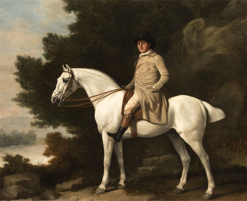 George Stubbs Portrait of a gentleman upon a grey hunter