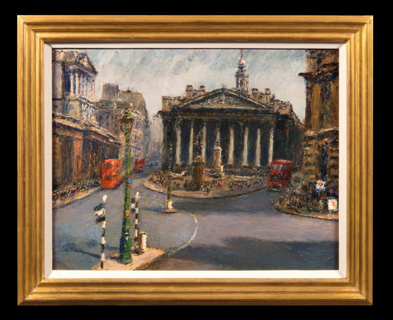 4061 - Piero Sansalvadore - London, The Royal Exchange from Mansion House - Framed