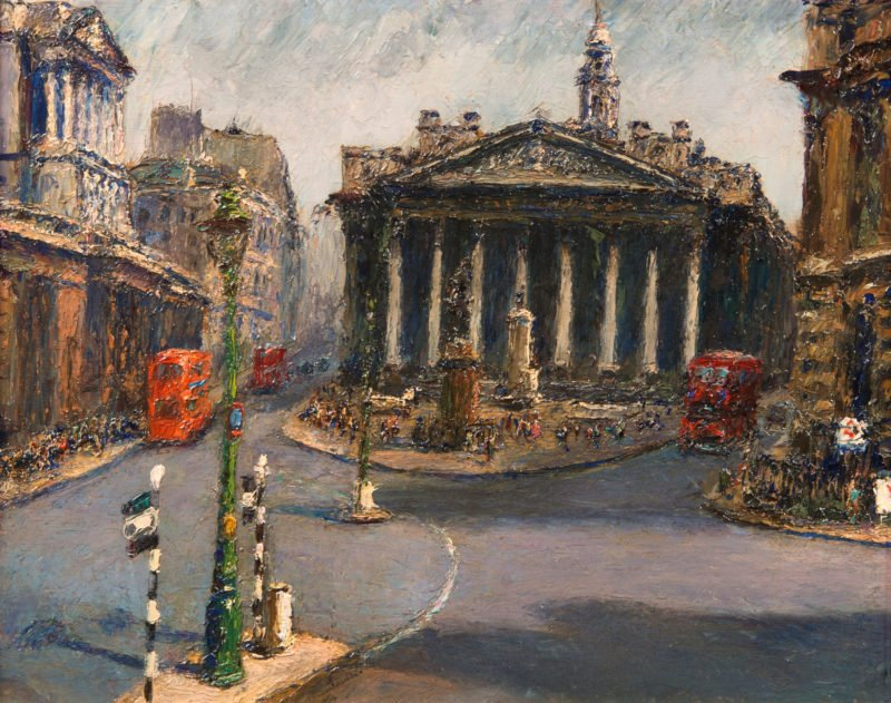 4061 - Piero Sansalvadore - London, The Royal Exchange from Mansion House - Unframed