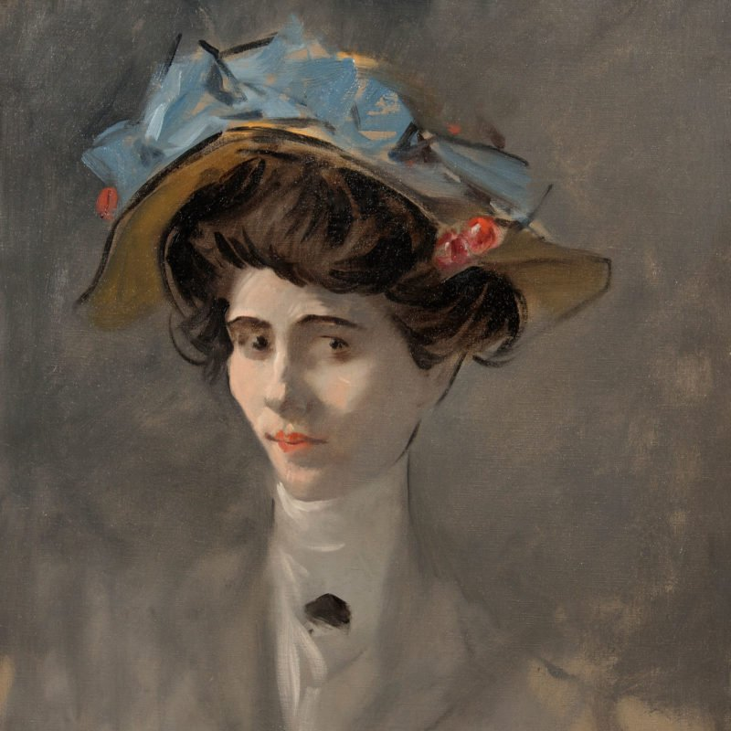 4553 - Jean Louis Forain - Young Lady with Hat Decorated with Cherries - Unframed WEB