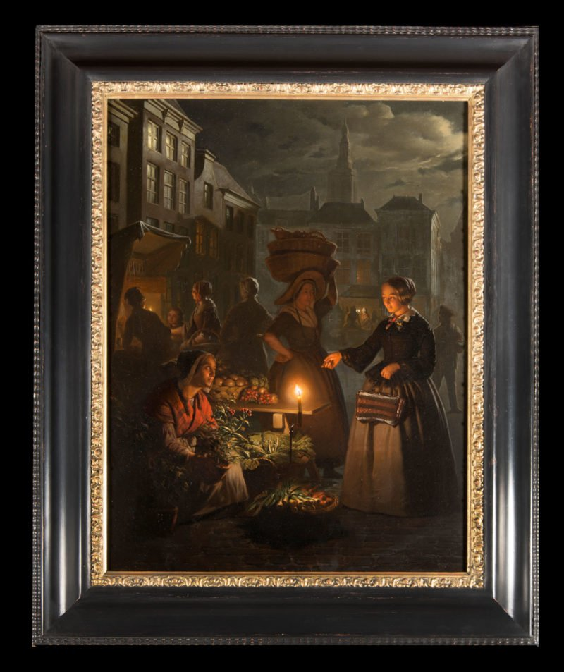 4632 Petrus van Schendel - The Night Market - Framed