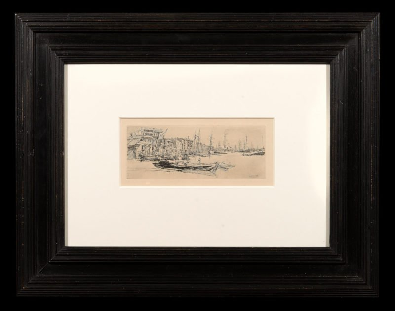 4697 - James Abbott McNeill Whistler - Thames Warehouses 1859 - Framed WEB