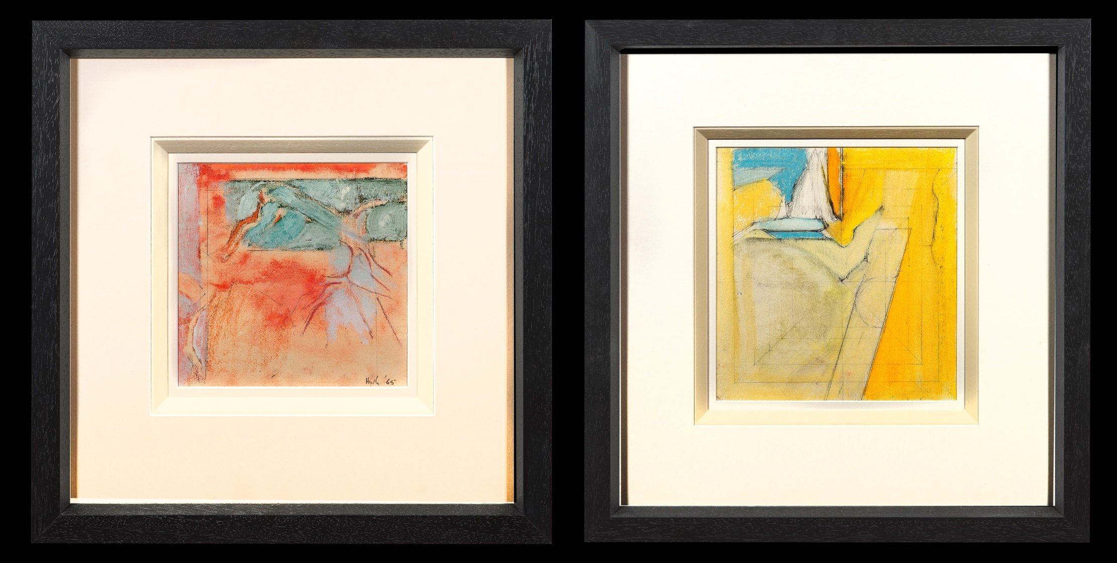 pair of abstract paintings, the left with colours in block pencil lines including yellow, blue and beige and the right work is red watercolour with a teal colour running through it