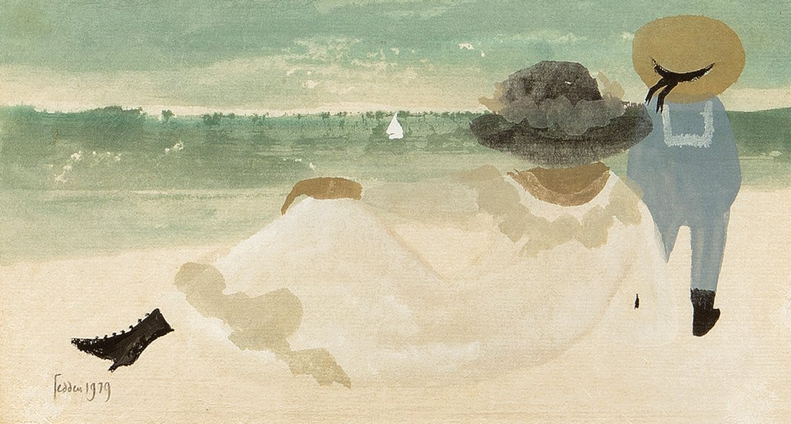 Mary Fedden Mother and Child on the Beach