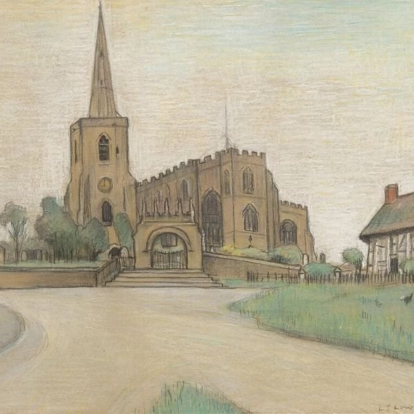 Works On Paper - Astbury Church, Cheshire by L S Lowry