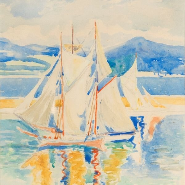 Boats in a port by Hilda Clements Hassel