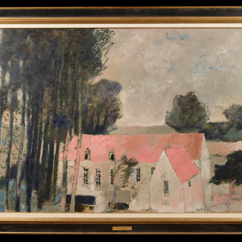 A large red roofed house next to tall trees by Andre Brasilier