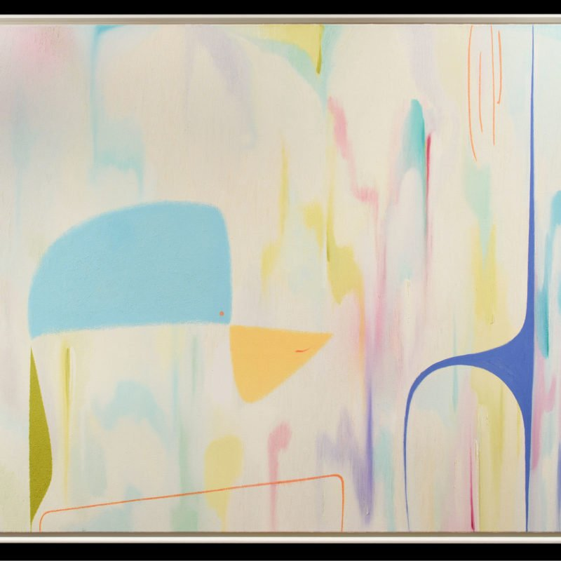 Oil contemporary painting with blue, yellow and pink colours