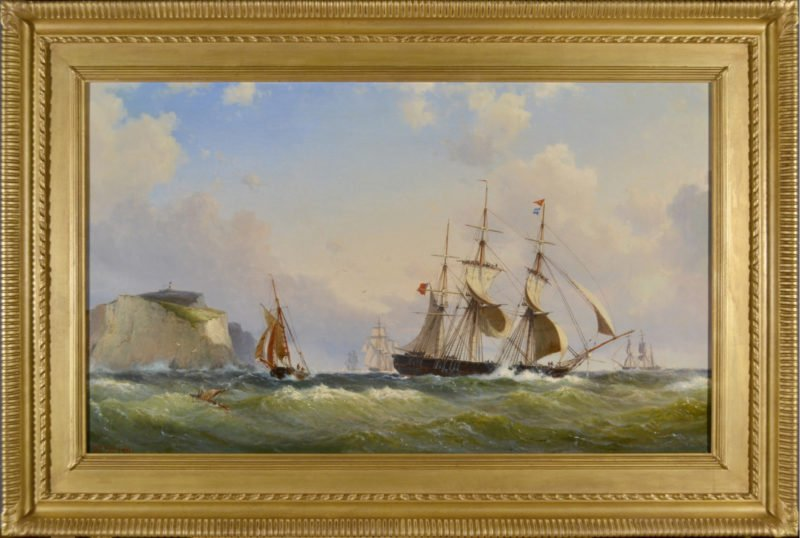 Tall ships in choppy sea near the Isle of Wight coast in the daytime by Wilhelm Melbye