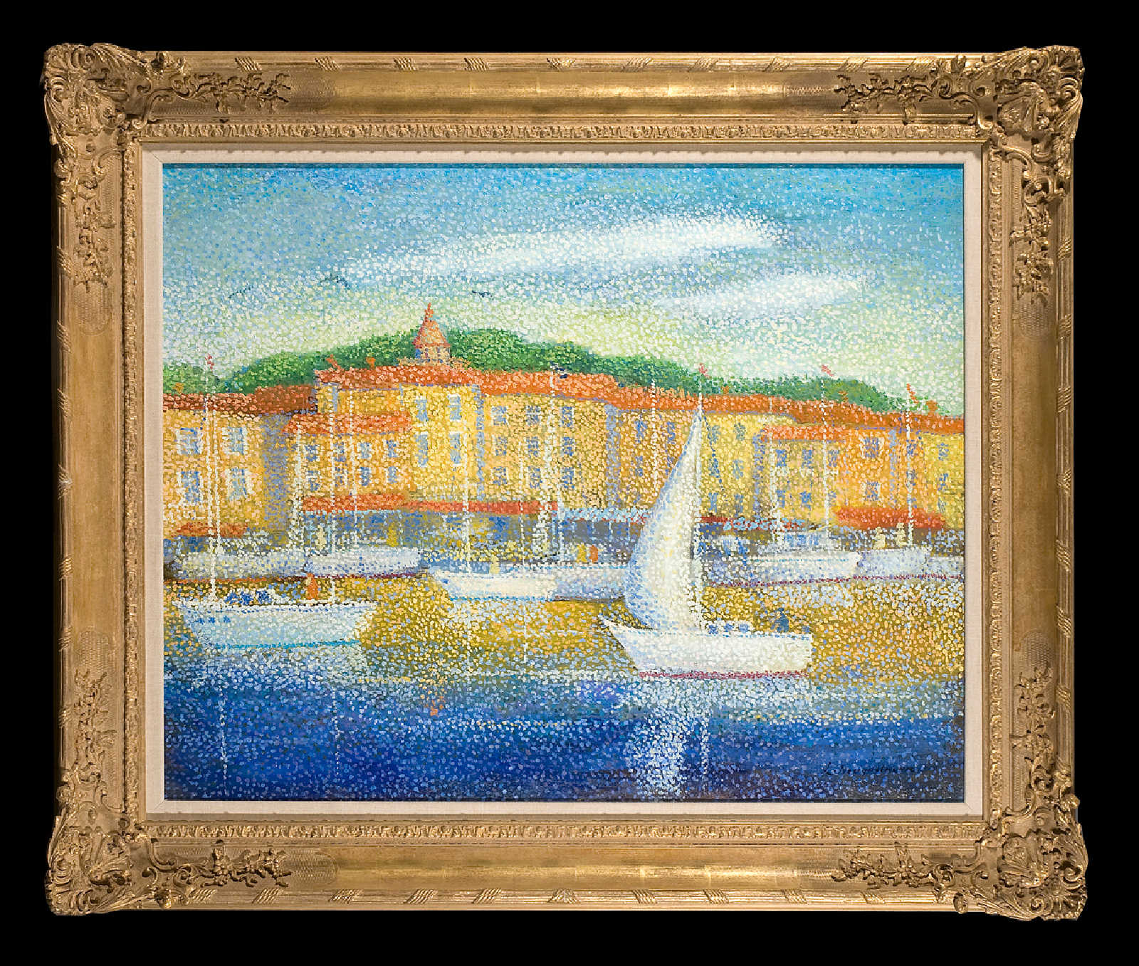 White boats on a harbour in summertime by Lucien Neuquelman