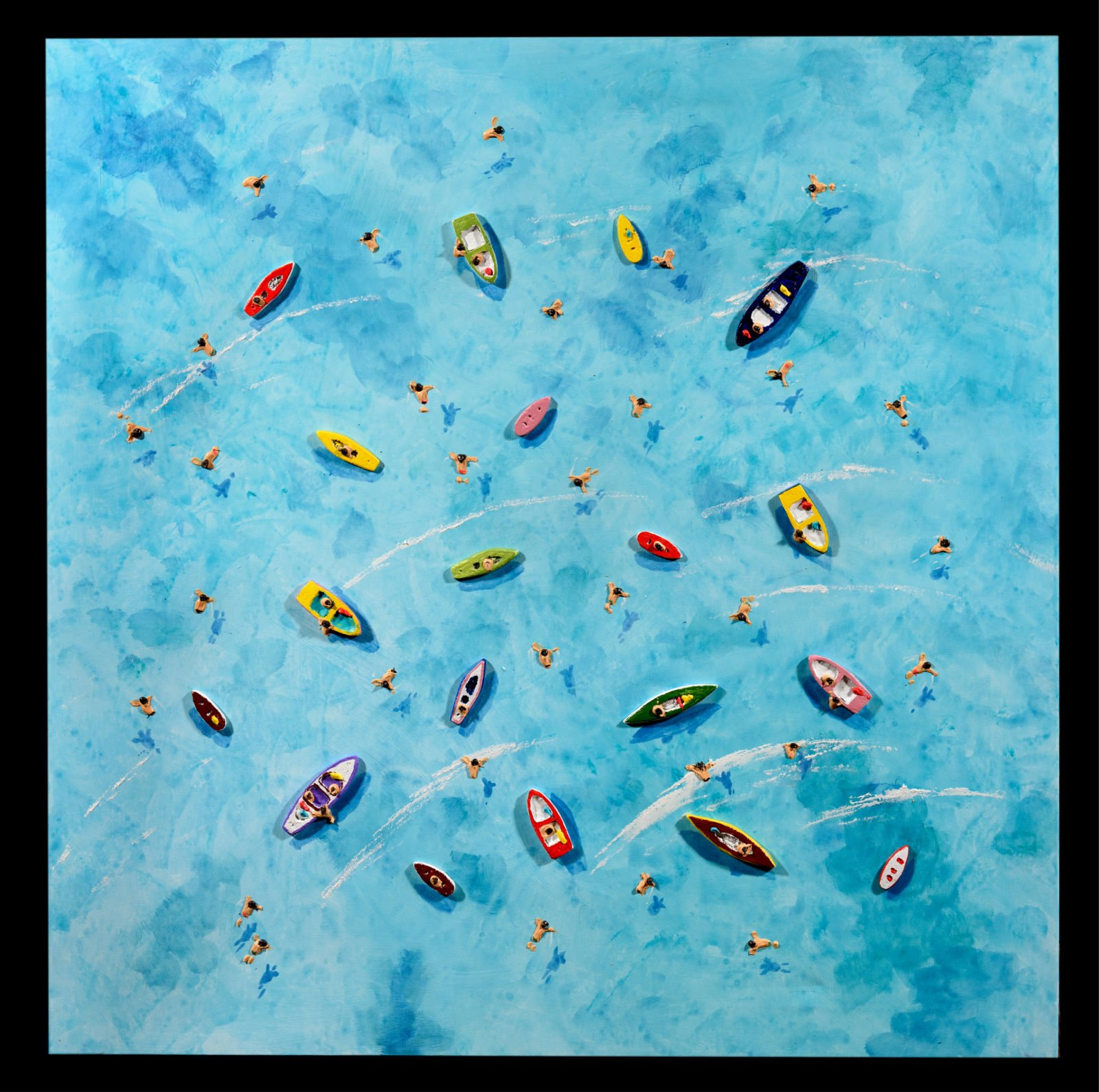 blue sea from above with boats and people swimming by Max Todd