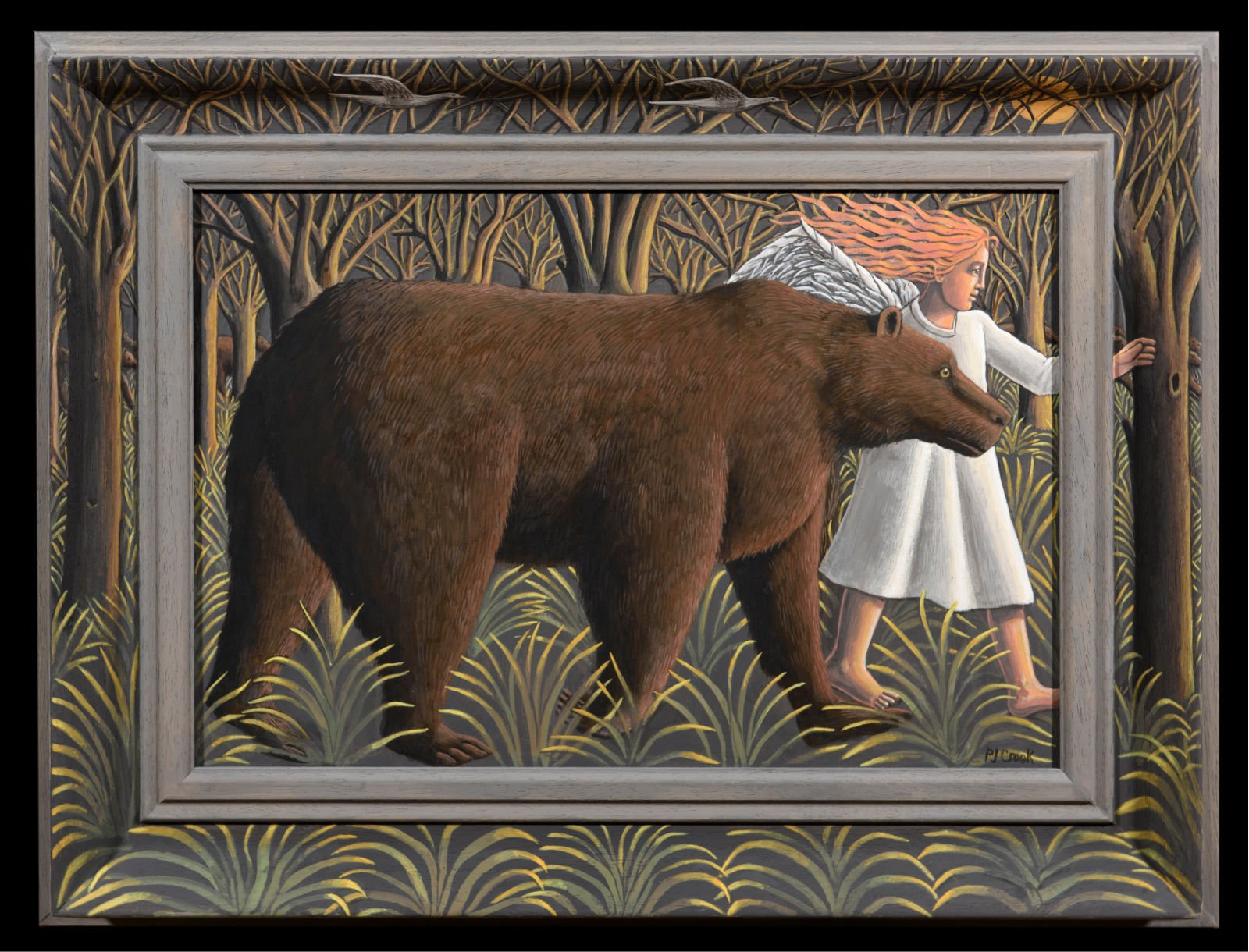 bear and angel walking through a forest in nightime with the moon in the backgground sky