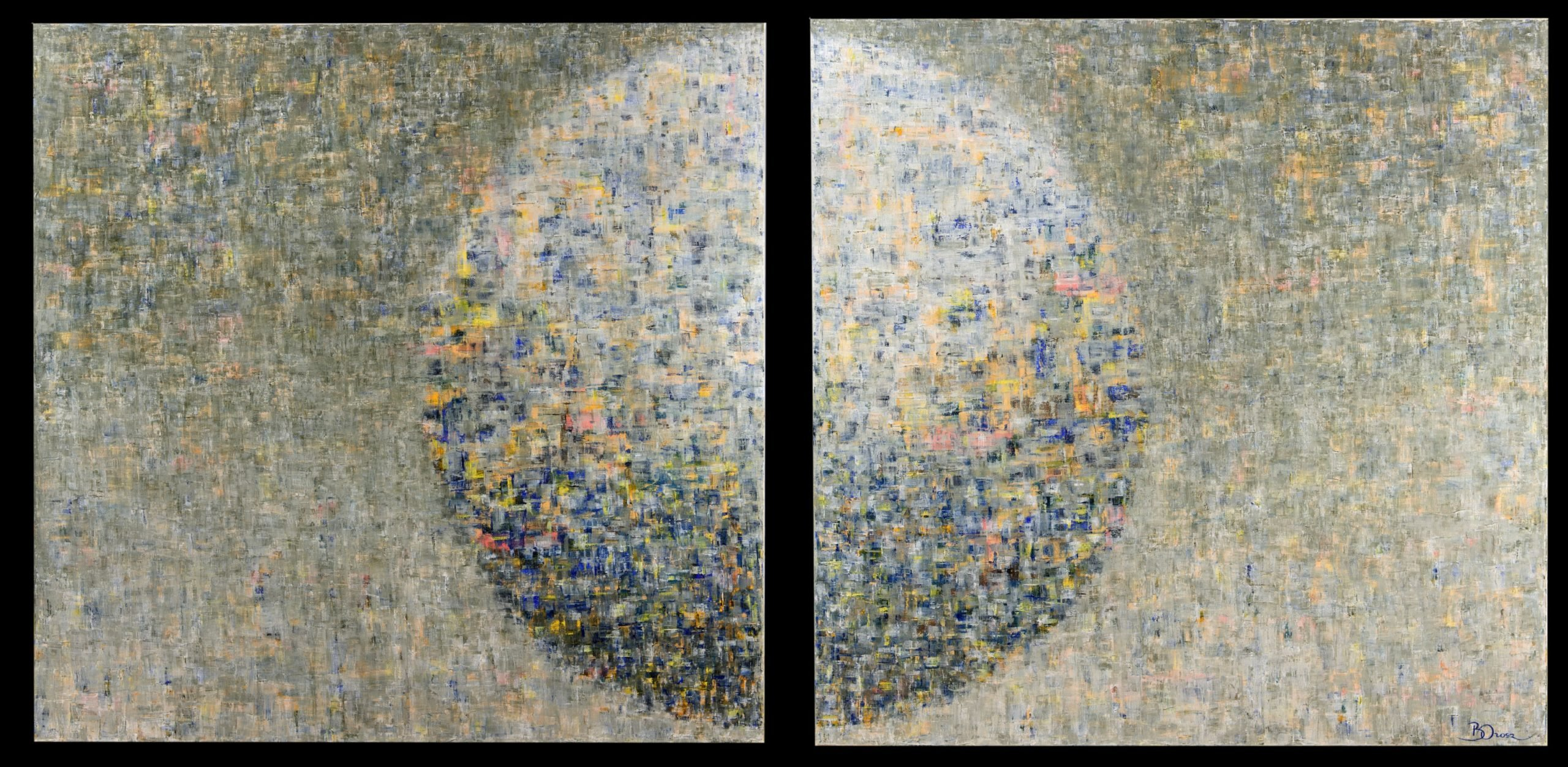 diptych of two semi circles in the middle to create a full circle with dashes of paint in blue, black, yellow and orange