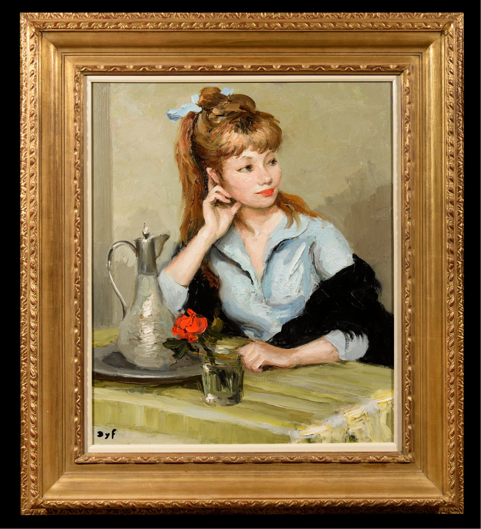 Marcel Dyf's wife sitting at a table with a vase and red rose on it