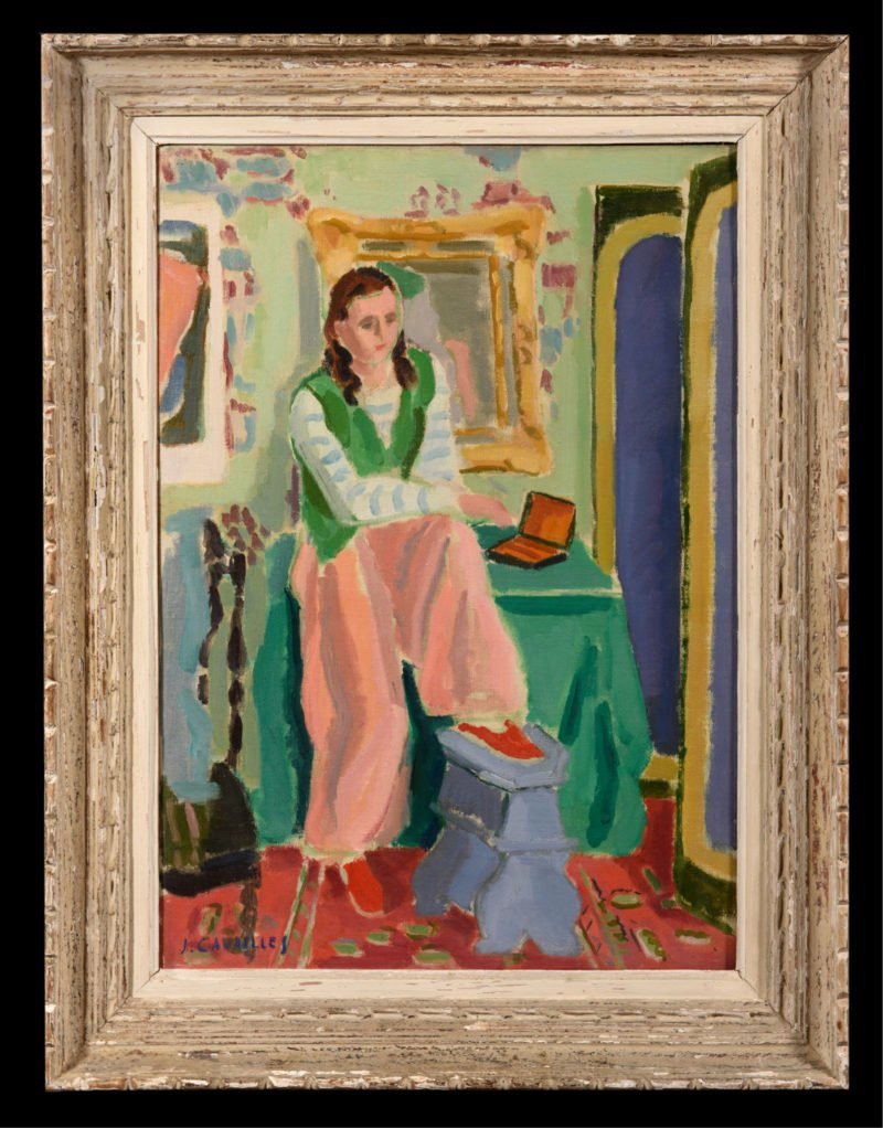 female figure with a green vest on sat with her feet on a blue stool in a colourful room by Jules Cavailles