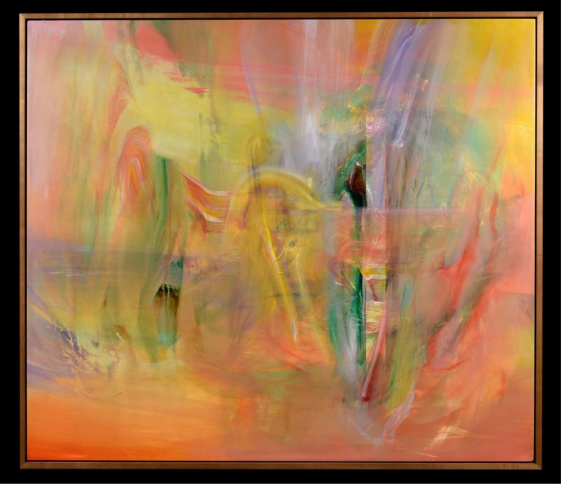 abstract paintings with strokes of colours including pink, green, orange, yellow and purple