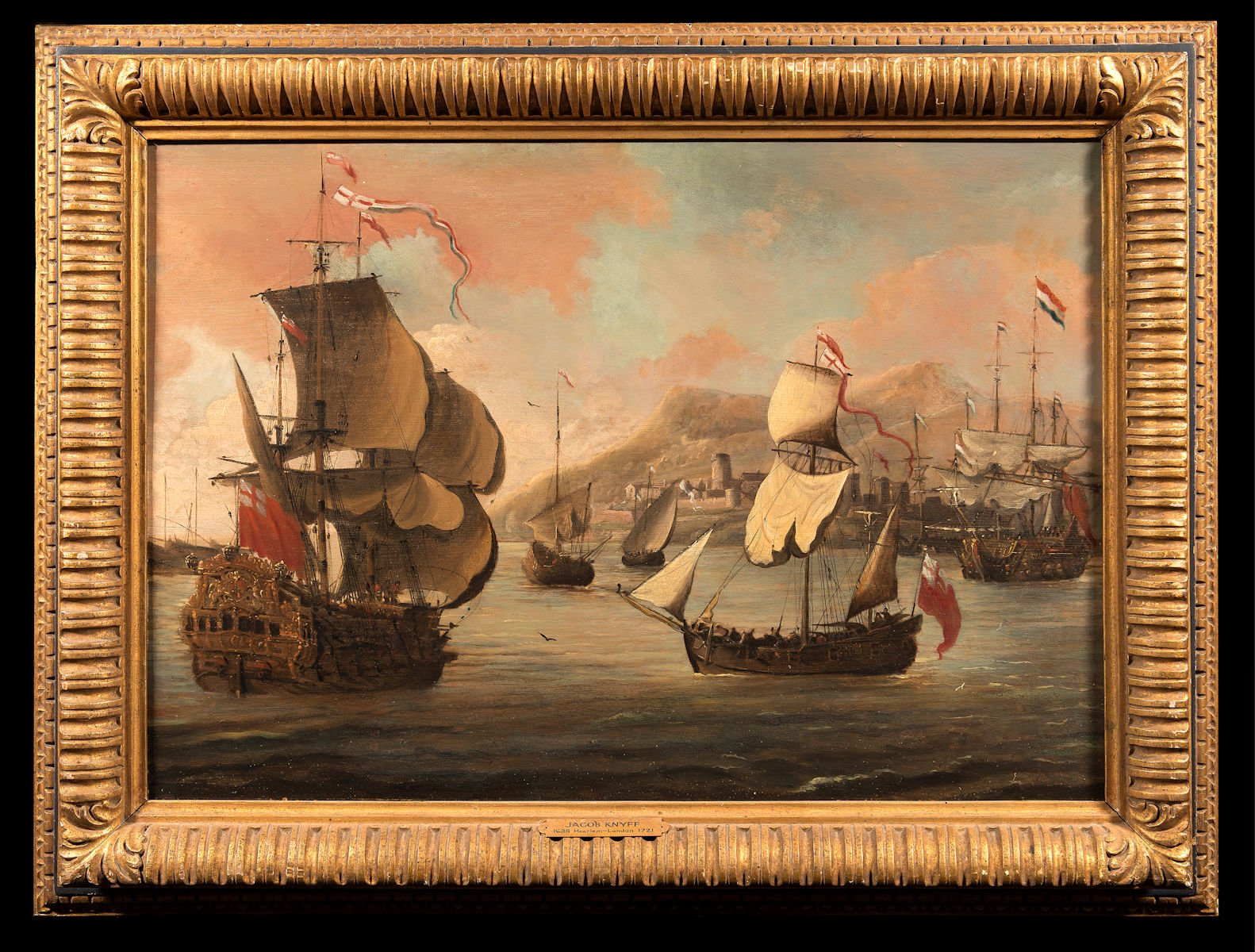 Historic war ships off the English coast by Jacob Kniff