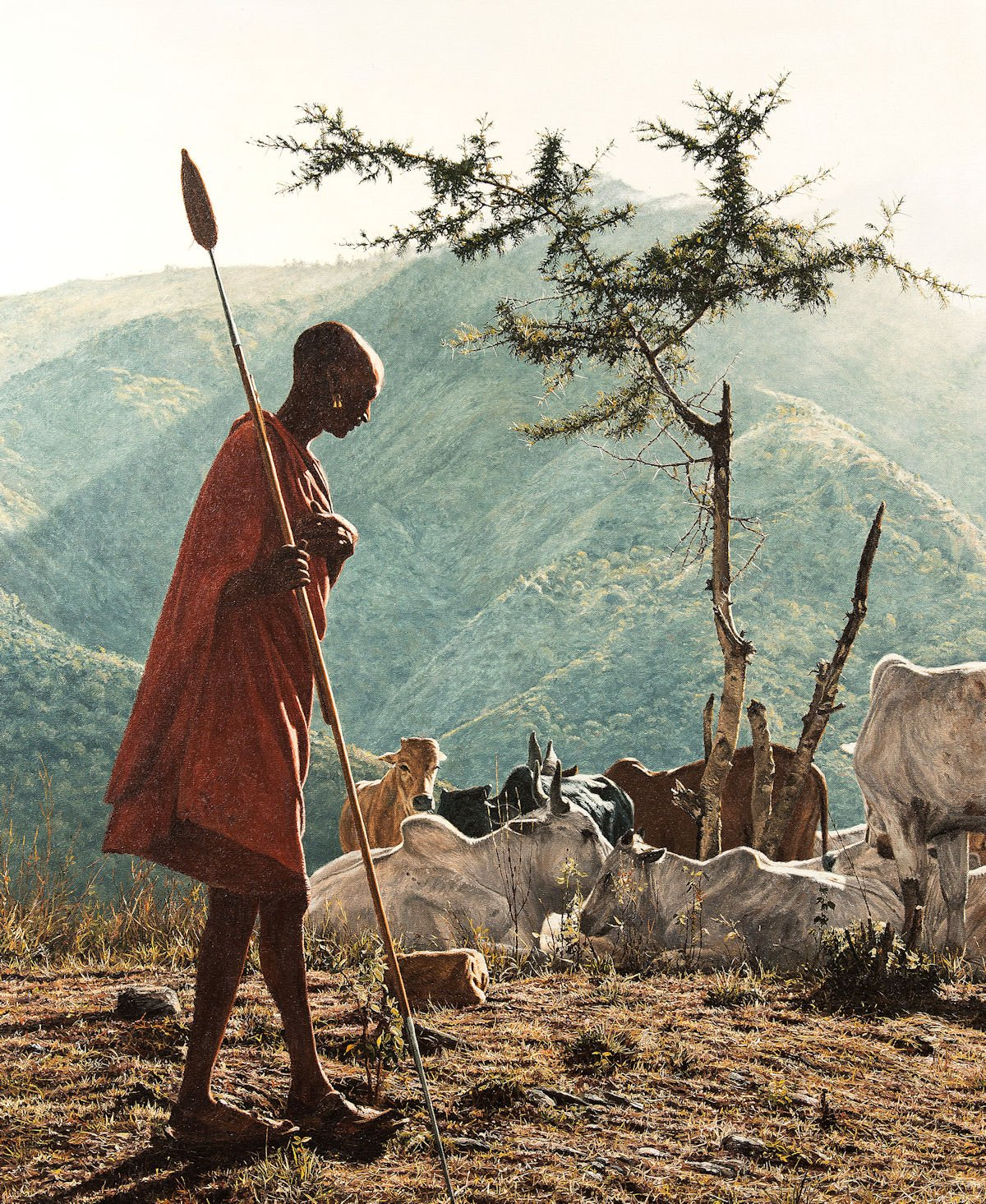 An african person looks after cattle in the mountains by Simon Coombes