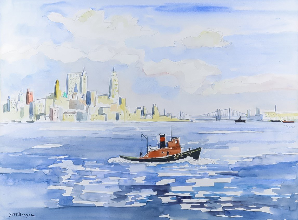 red ship on water with New York skyline behiind and Brooklyn bridge by Yves Brayer
