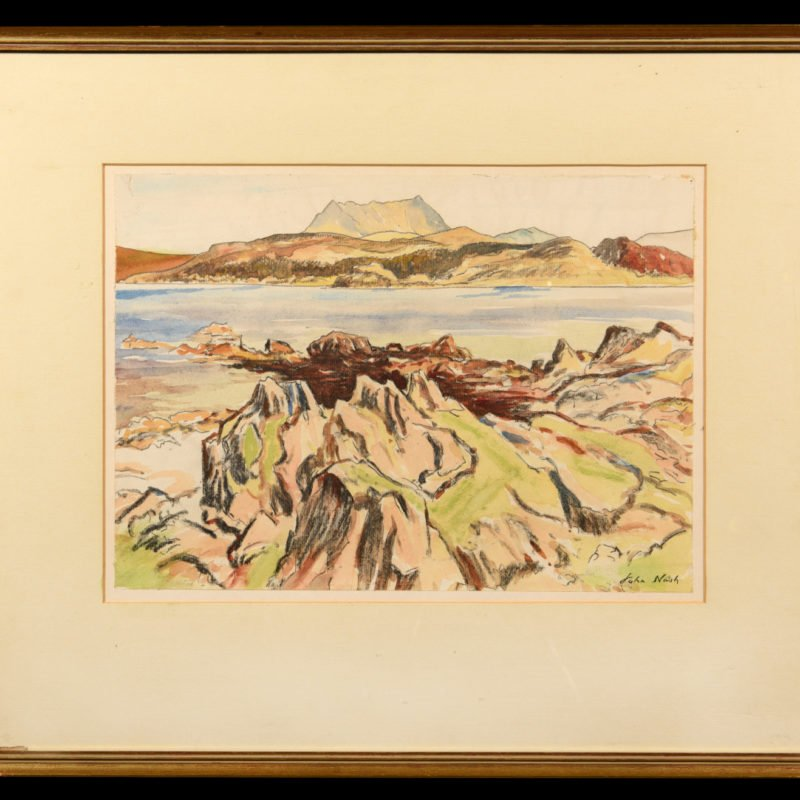 landscape scene showing an Island in Scotland with rocks at the front, water and mountains in the back by John Nash
