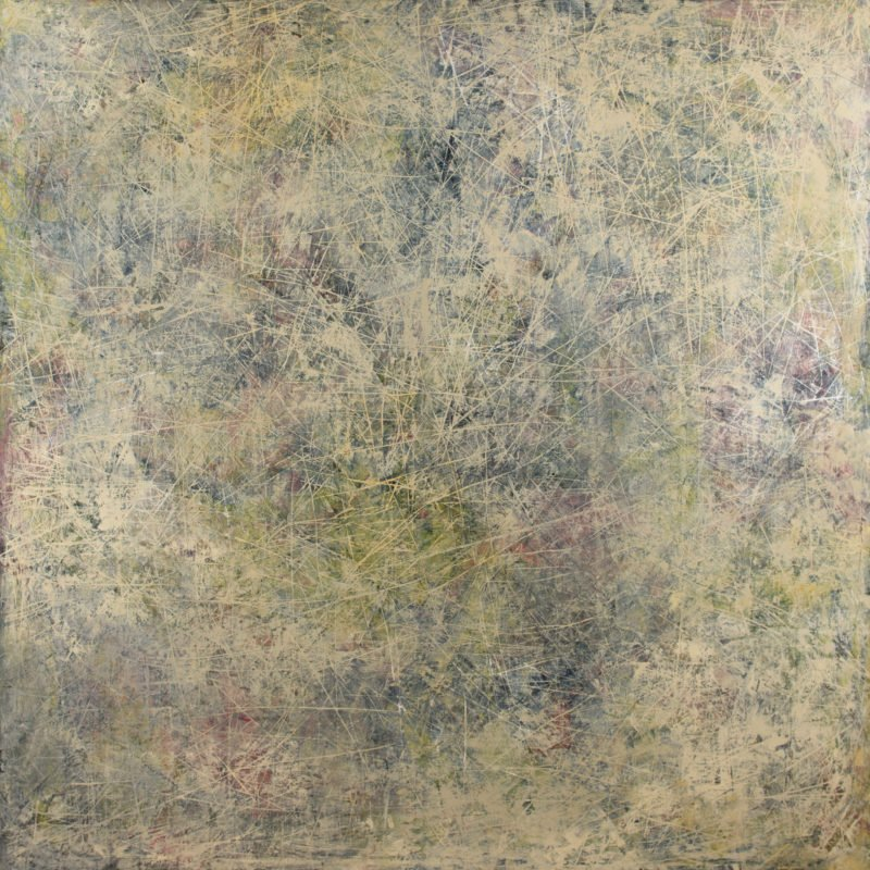 Abstract stokes of moss green, brown and grey on wooden panel