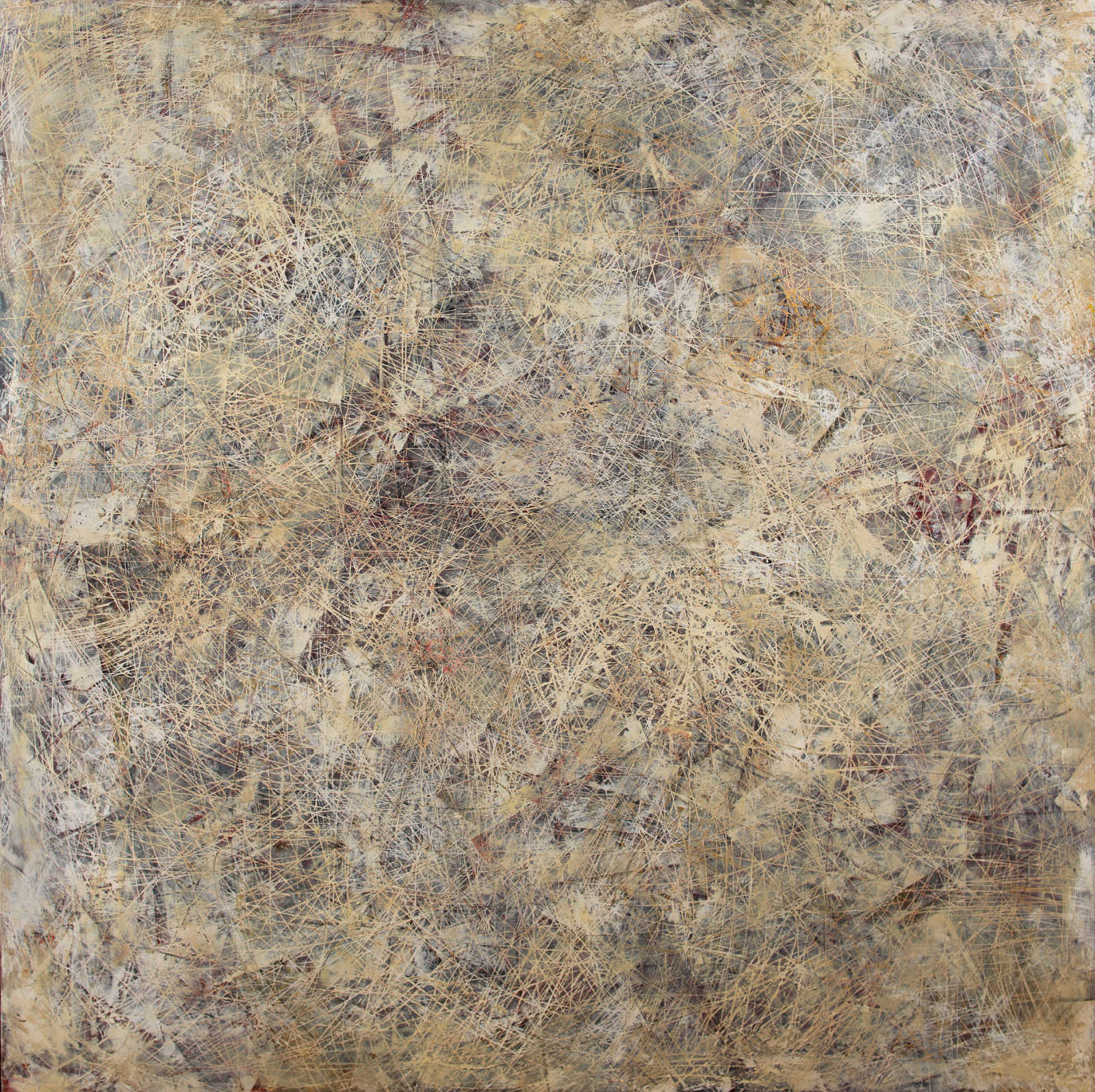 Abstract brown and grey strokes on wooden panel by Matthew Goddard-Jones