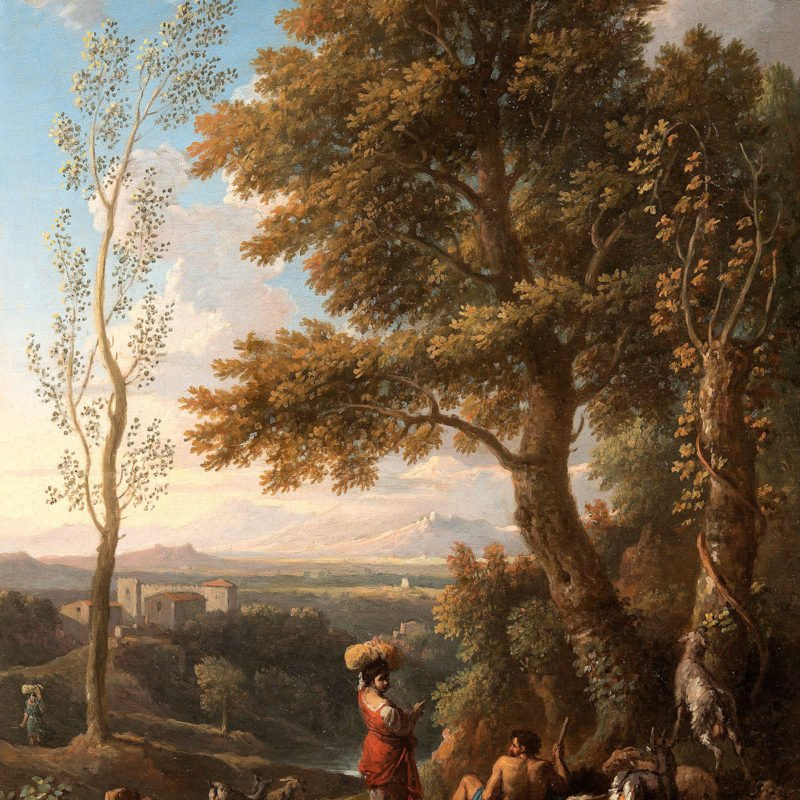 Italian vedute with shepherds by Bloeman