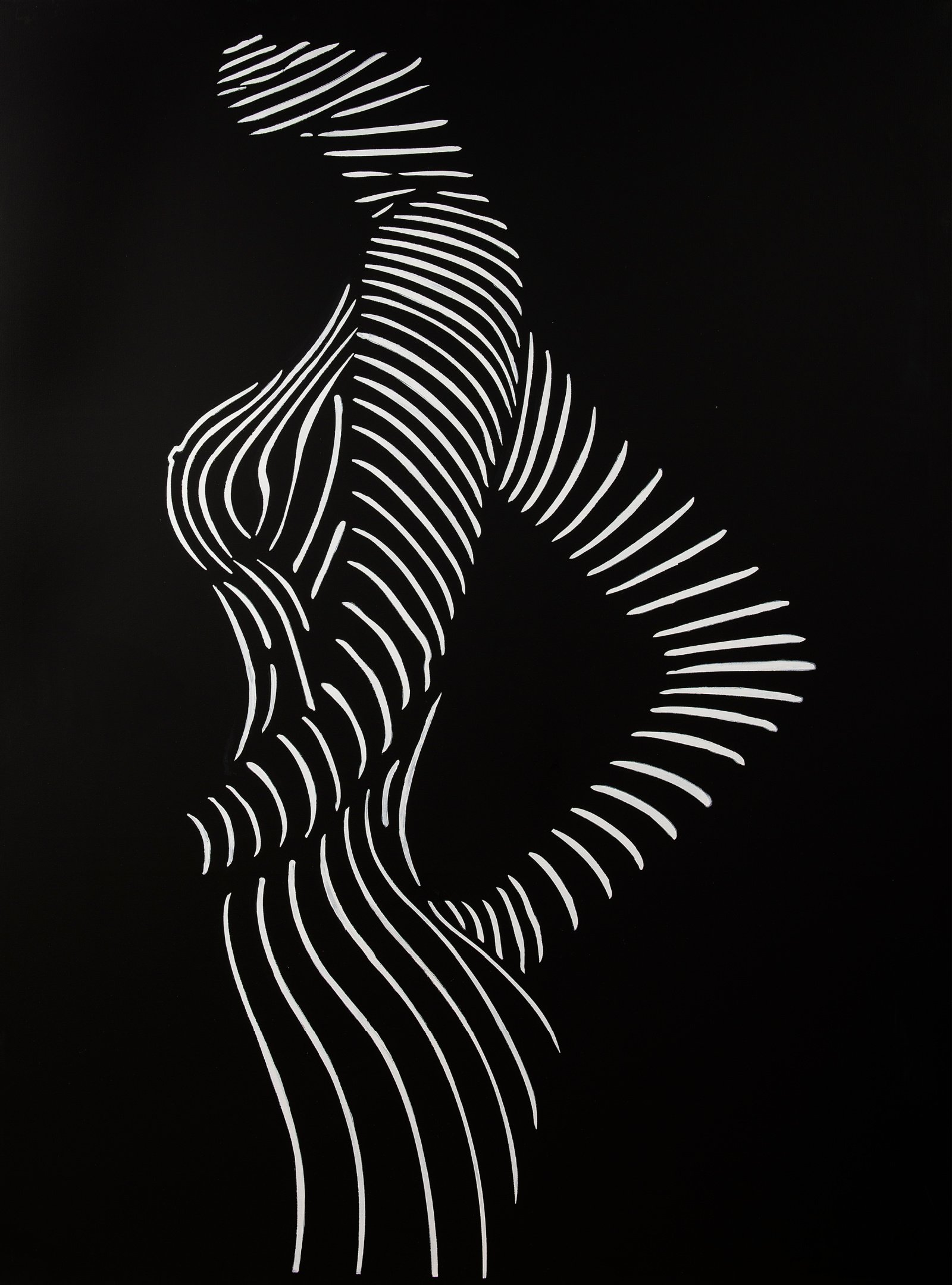 Abstract oil painting on a black background with white straight lines forming the outline of the side of a female figure by Ann Generlich