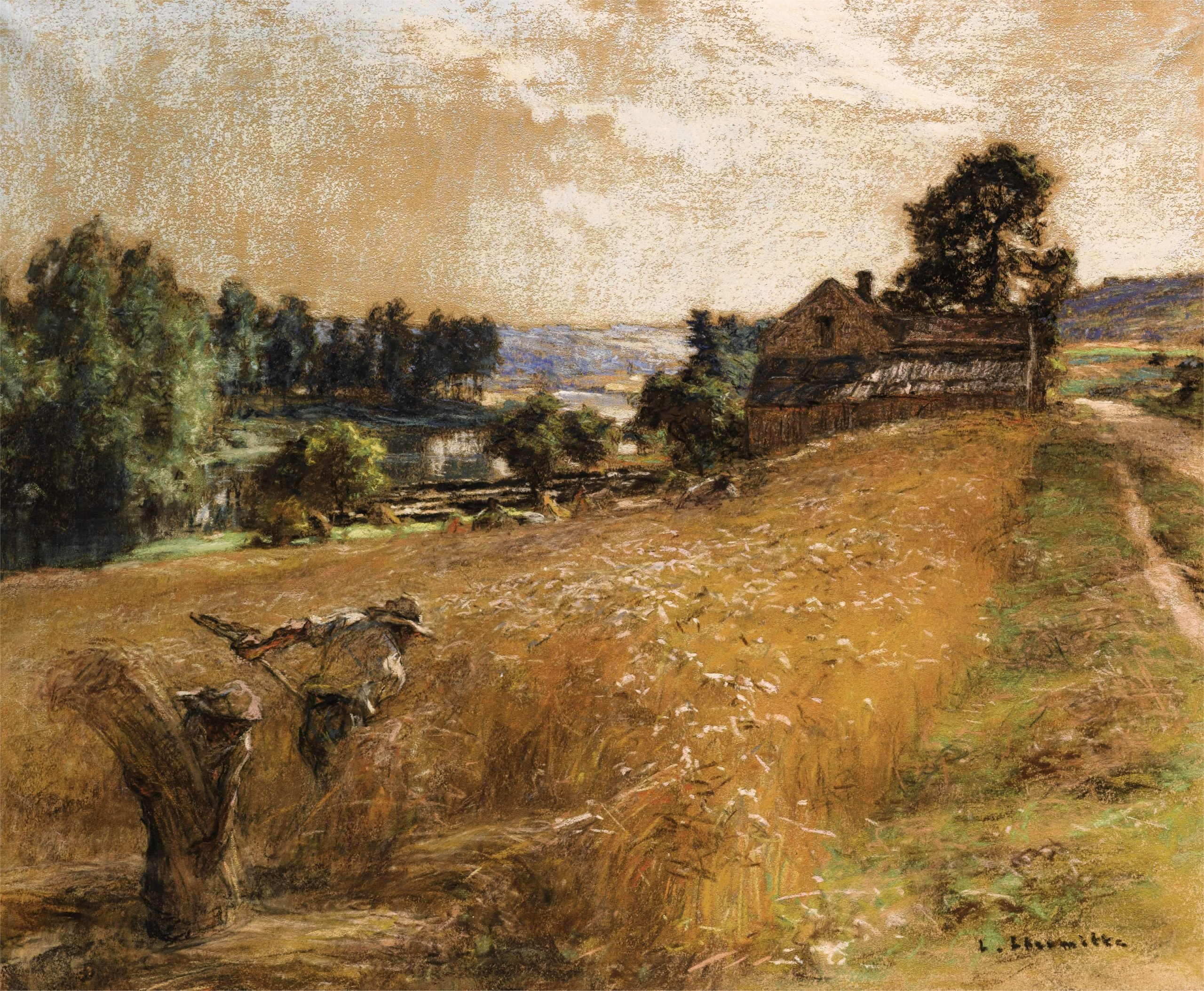 Farmers harvesting a corn field by hand near to a small house and a rough track
