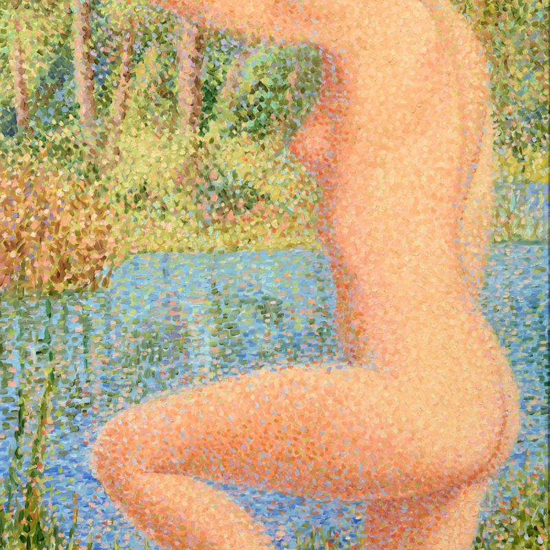 Nude bathing scene with a woman about to go into a lake using a pointillist technique by Serge Mendjisky