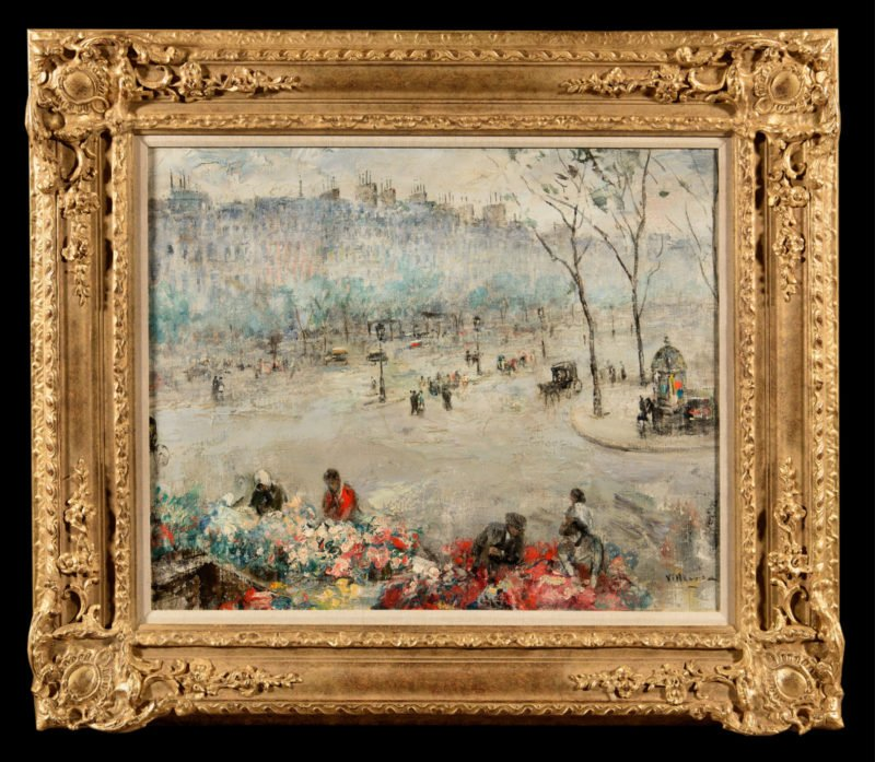 Street scene of Paris with people looking at flower sellers and buildings in the background by Cesar Villacres