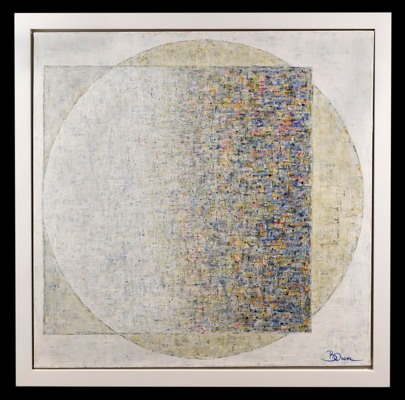 Minimalist painting with a square overlaping a circle made up of dashes of red, yellow and black paint fading in and out