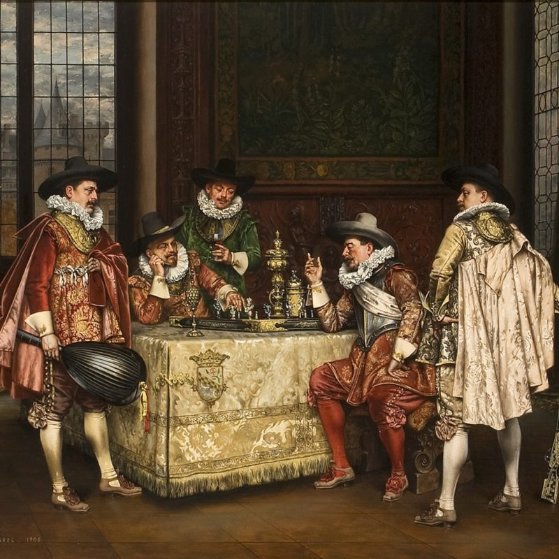 five men playing a table game