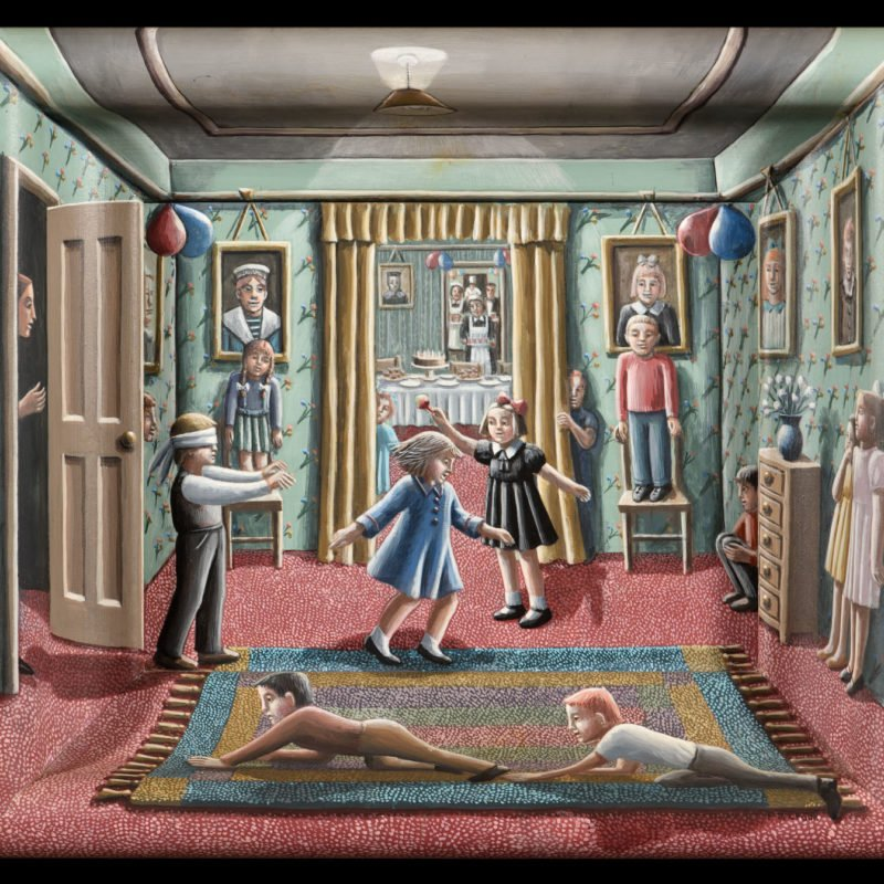 Oil painting of multiple children playing in the living room of a home and cakes in the background by P.J Crook