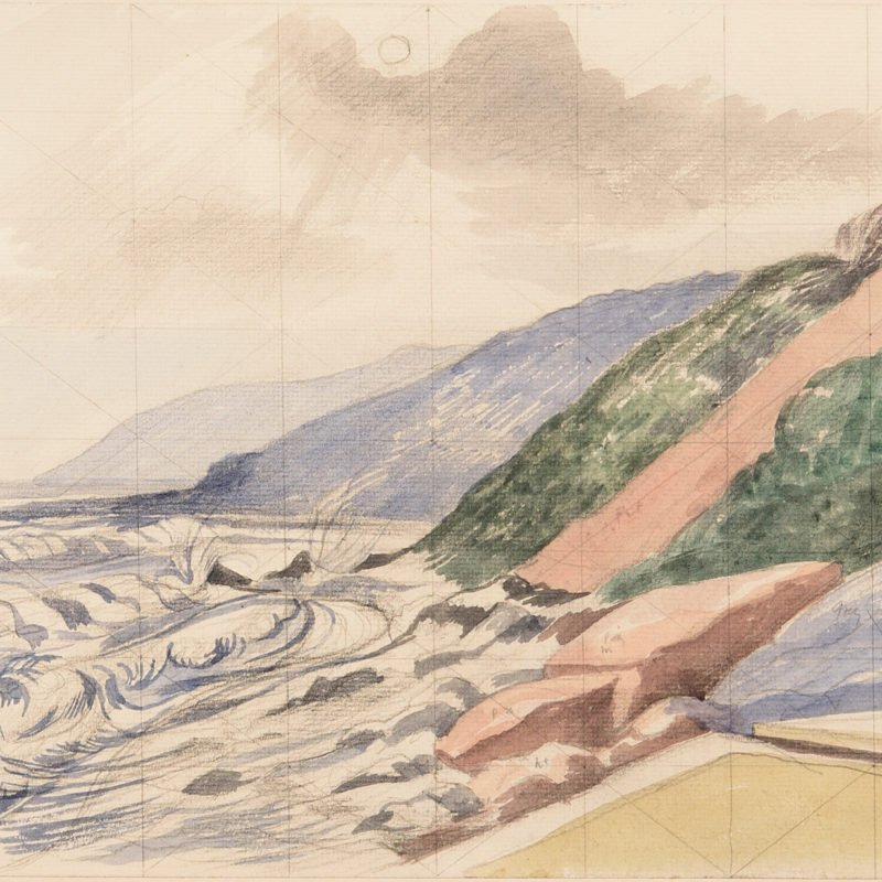 Watercolour landscape work with blue, green and pink hills in the right background above the sea washing onto the beach in the foreground with grey clouds above by John Nash