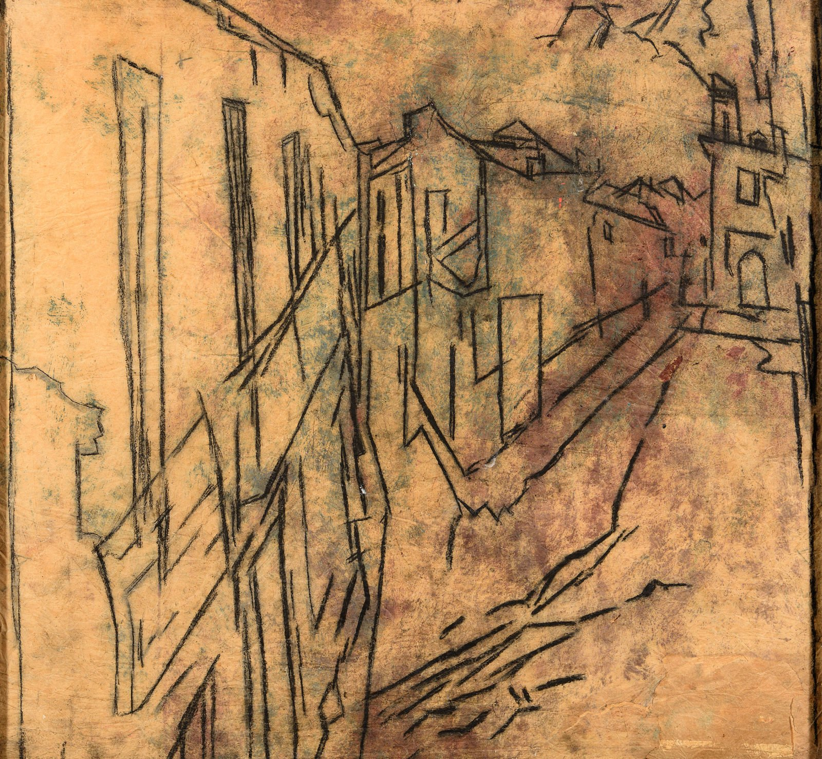 Charcoal and chalk sketch of a street in Rhona showing houses on the left and a mountain in the background by David Bomberg