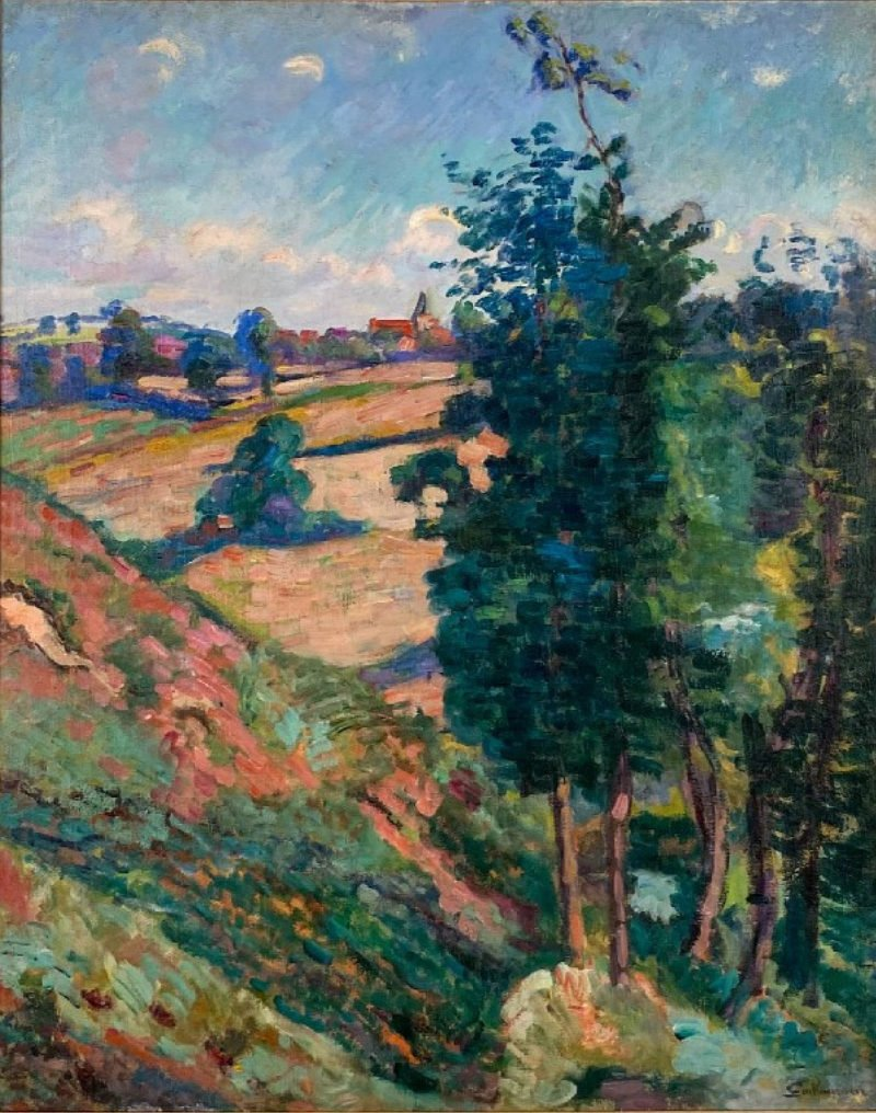 Landscape oil painting from a high viewpoint overlooking hills of fields and a village in the distance, and some trees on the left of the work by Armand Guillaumin