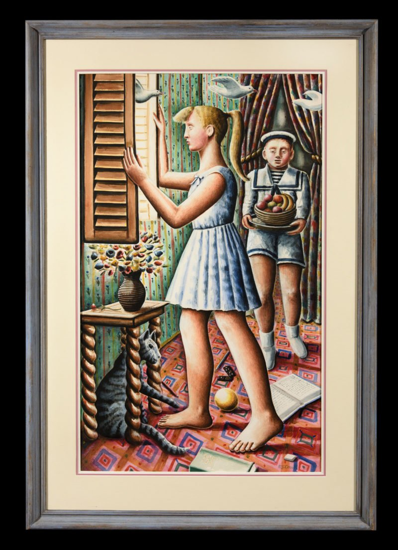 Two children inside a family house with doves flying in from the window and a boy carrying fruit by P. J. Crook