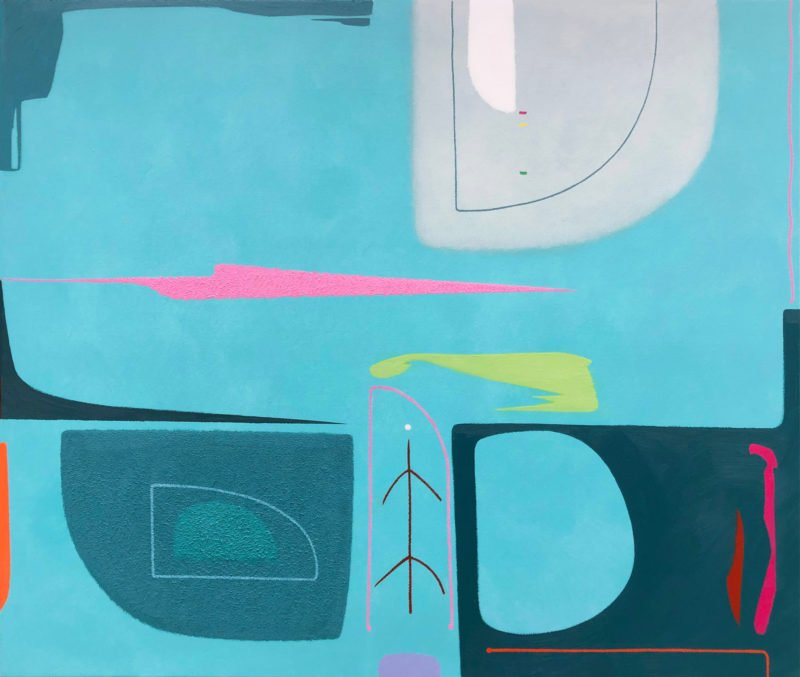 Abstract painting of a bright turquoise background and large/small shapes of teal, grey and pink shapes across the piece by Martyn Jones