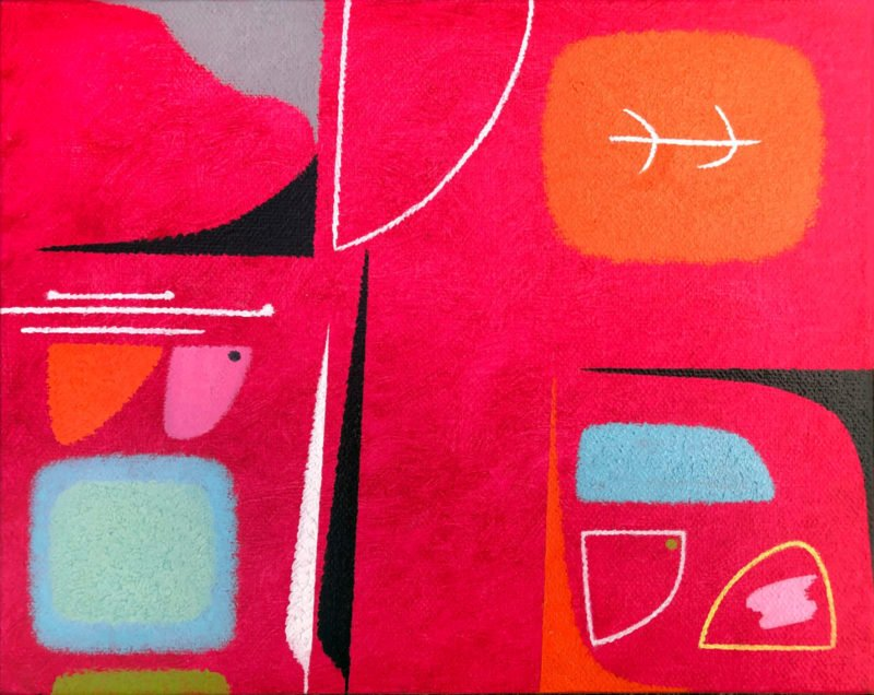 Abstract painting with a pink background and shapes of colours including light blue, orange, red by Martyn Jones