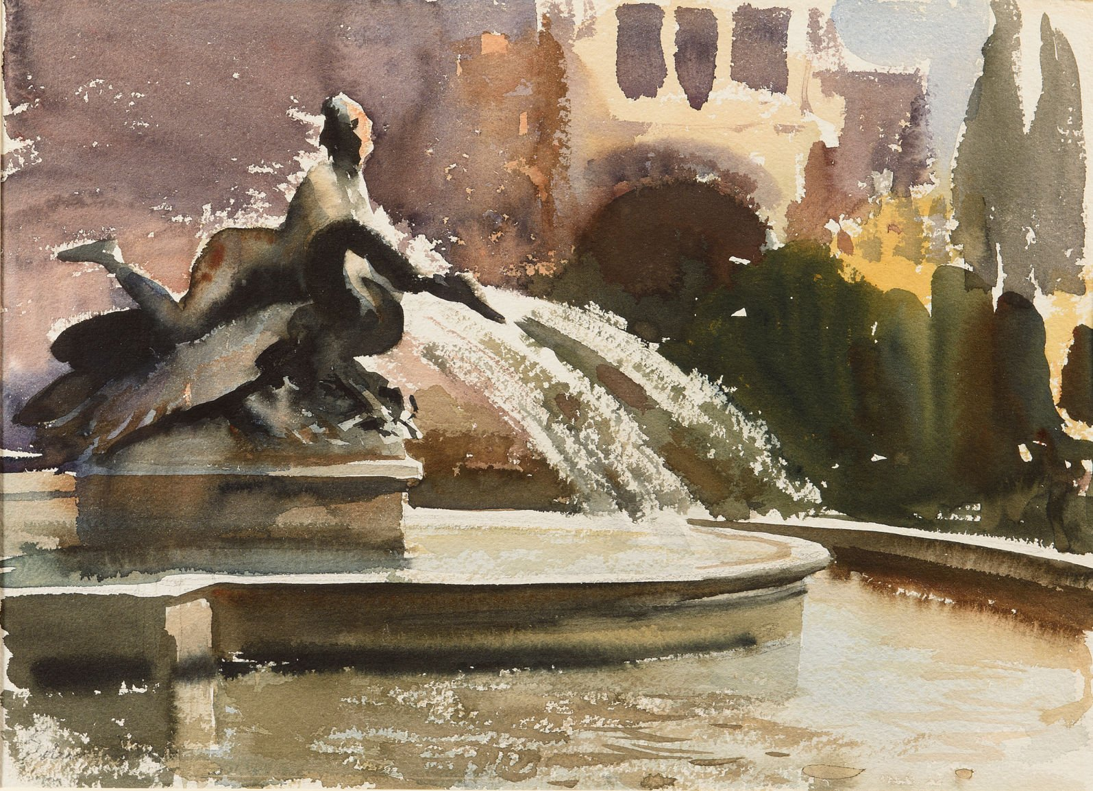 Watercolour painting of a fountain in Rome showing a female figure and swan sculpture and trees in the background by Edward Seago