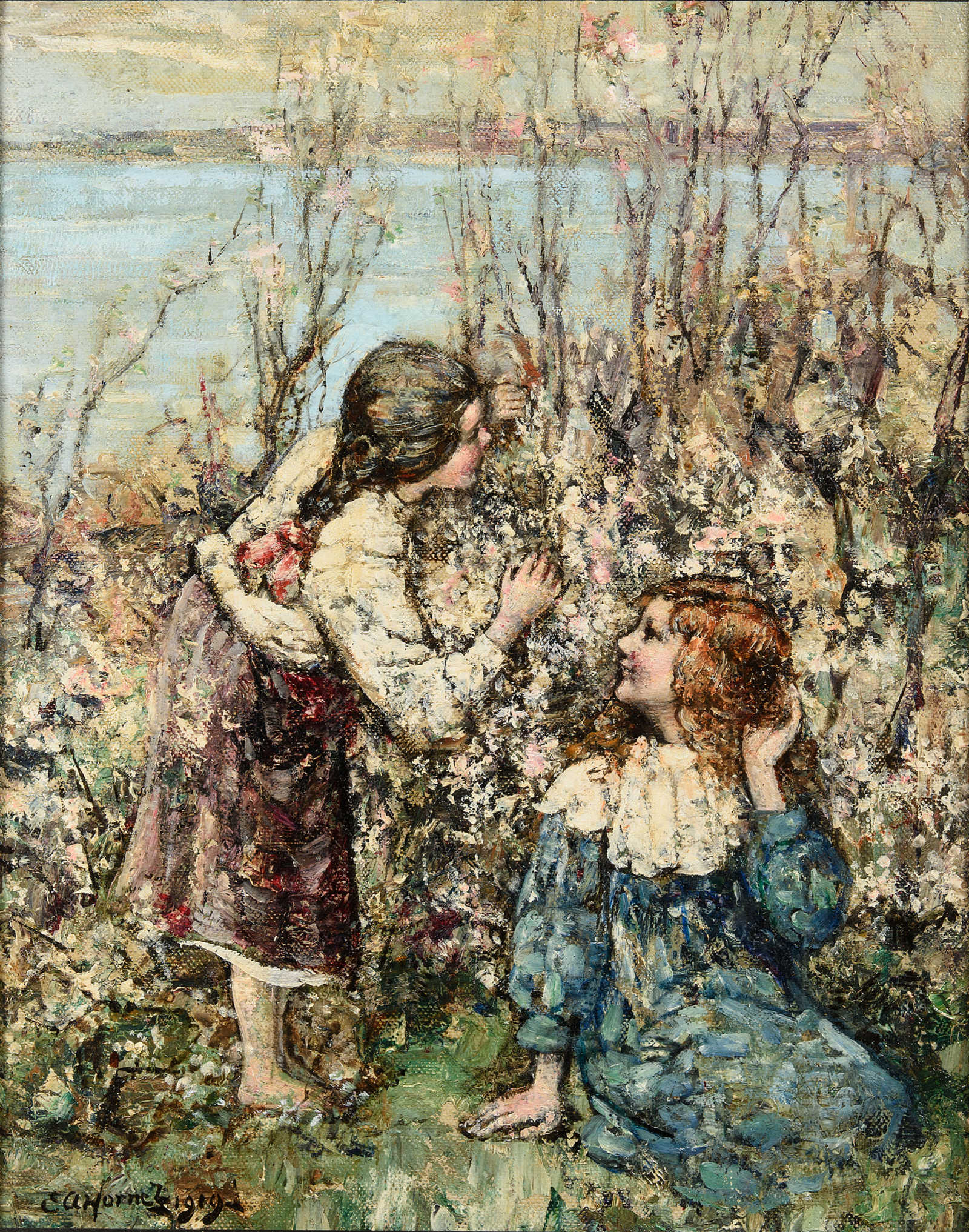 Oil painting of two young girls hiding behind a bush of apple blossoms with water and the sky in the background by Edward Hornel