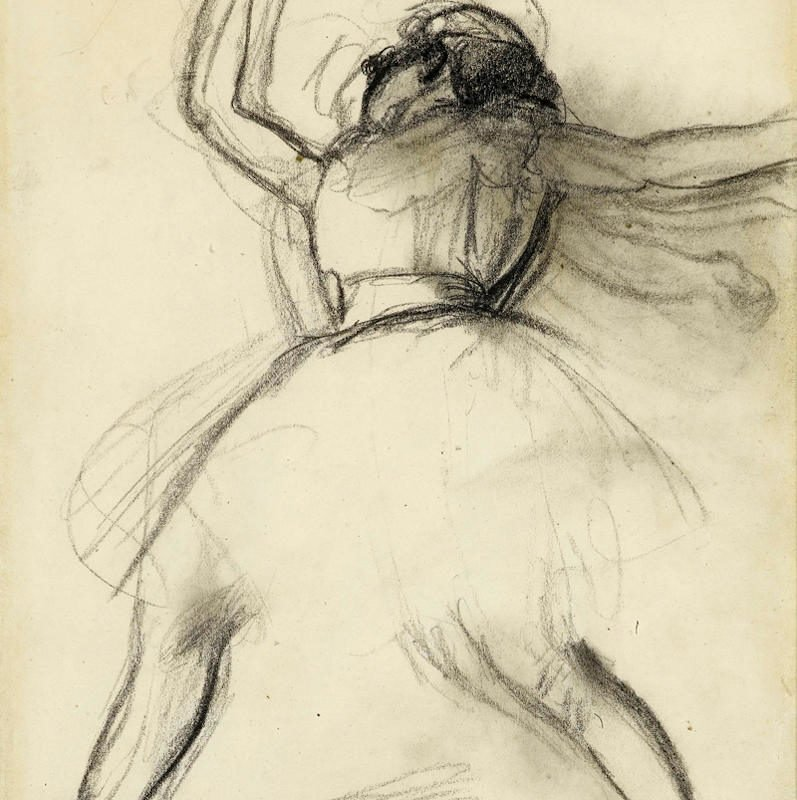 Ballet dancer with arms and legs outstretched by Degas
