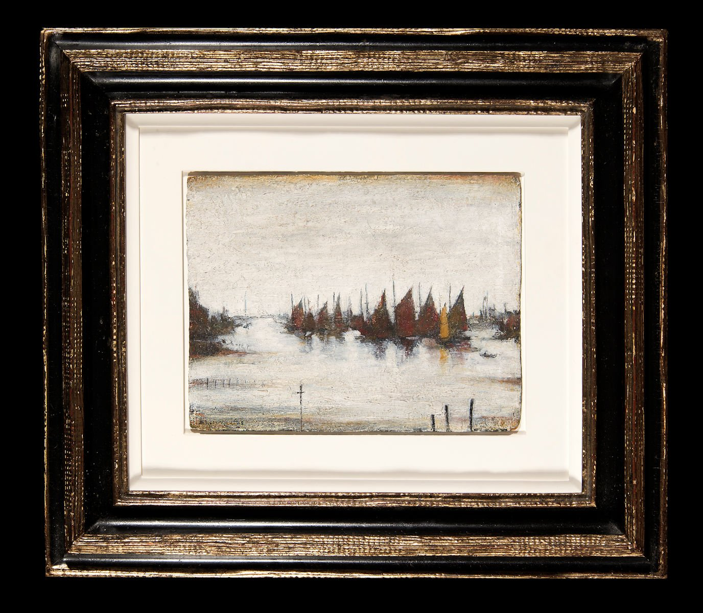 Fishing boats on calm waters by Lowry