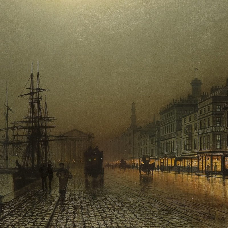 A harbour at night with lights in nearby shops by Grimshaw