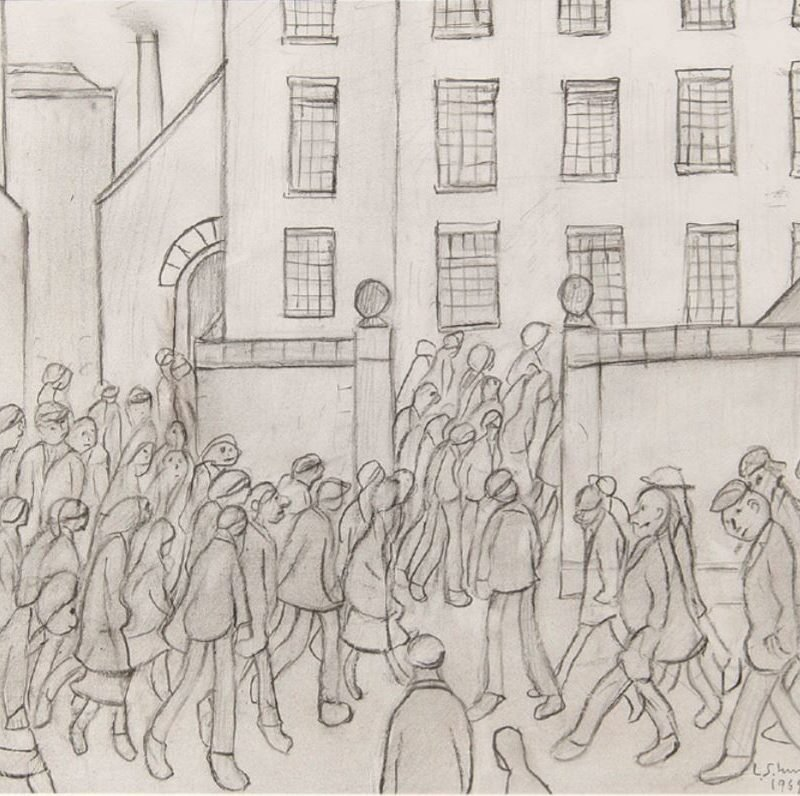 Figures wait outside the entrance to a factory by LS Lowry