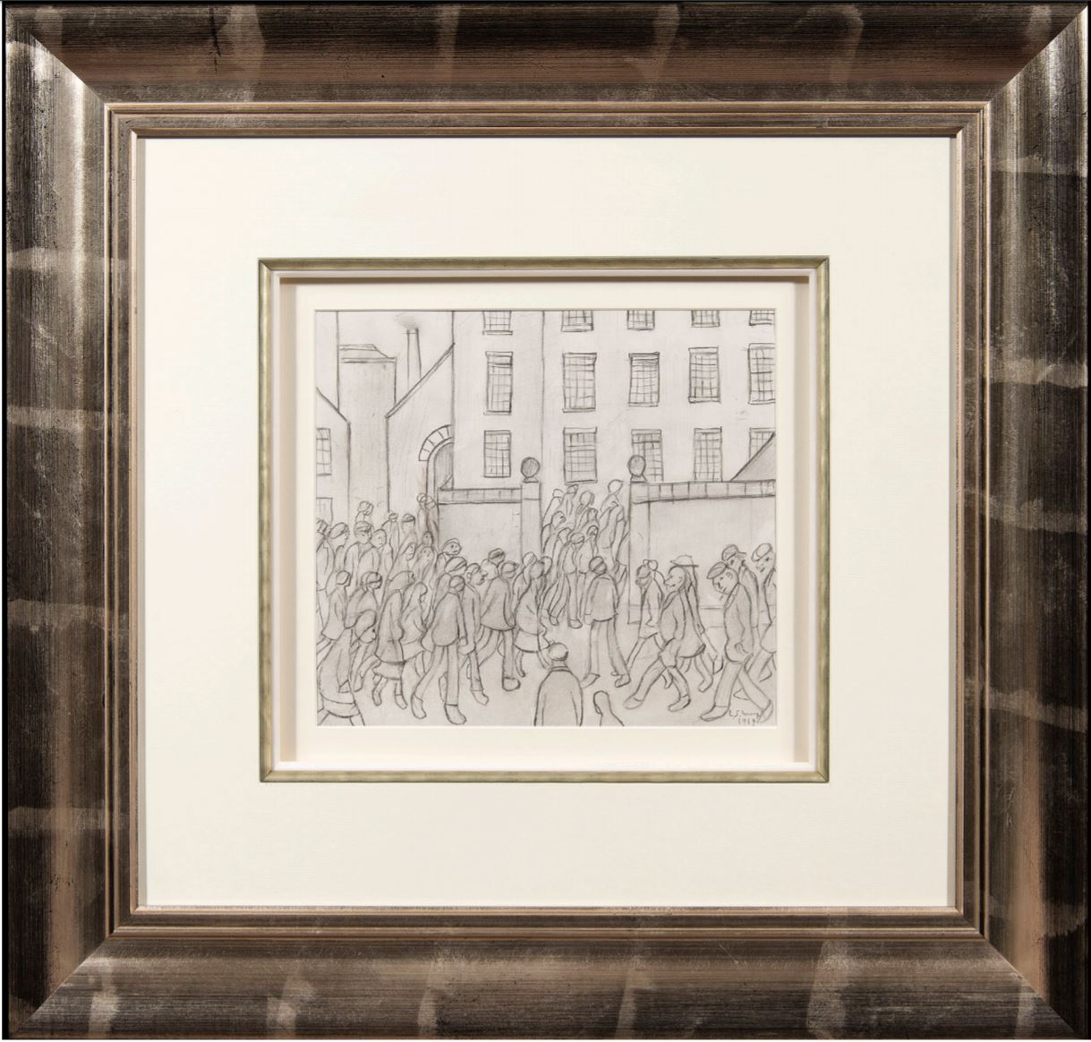 Figures crowd around the gates of a factory by LS Lowry