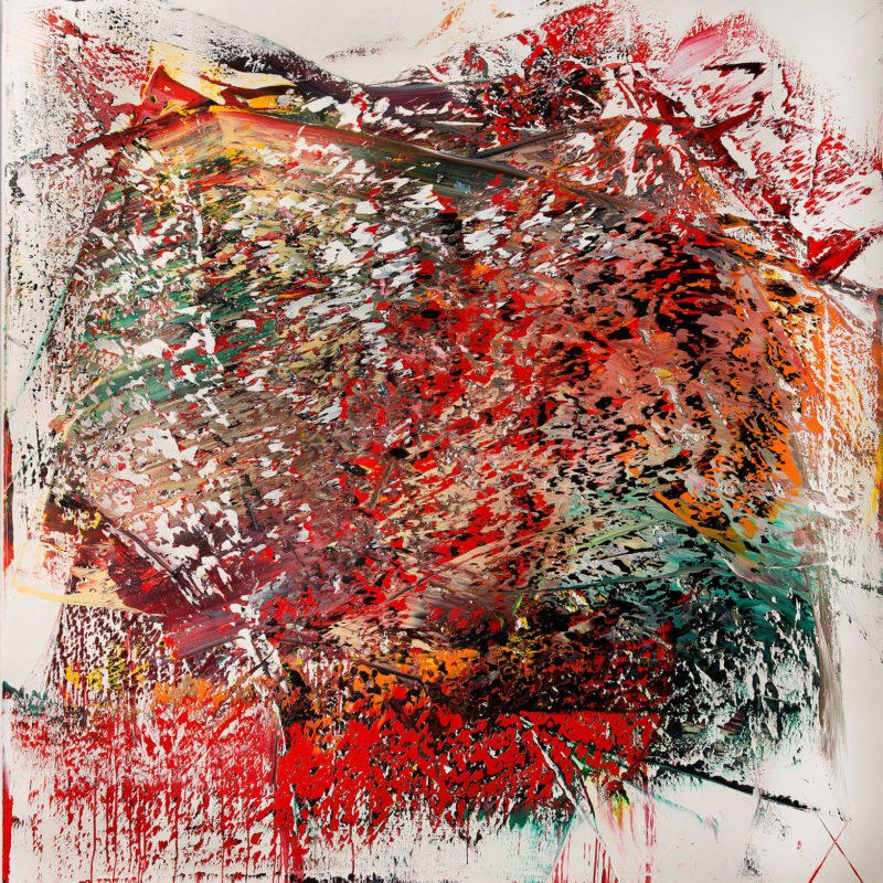 Abstract painting with layers of coloured paint