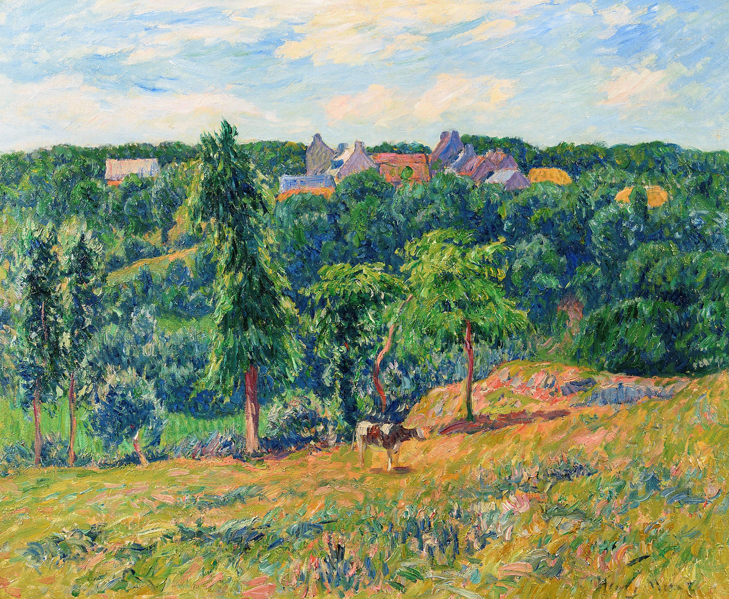 landscape painting of a forest with a village behind